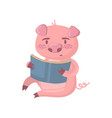 cute smart pig character reading a book funny vector image