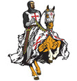 knight of templar order on a horse vector image