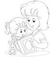 Mother and daughter reading vector image