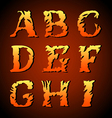 Vintage alphabet set on background vector image