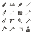 Work Tools Icon Set In Black vector image