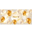 Celebration party banner with golden balloons and vector image vector image