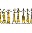 Ethnic women with jugs seamless background for vector image vector image