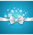Blue Christmas background with white silk bow vector image