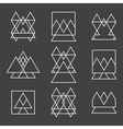 Set of 9 geometric shapes triangles squares and vector image