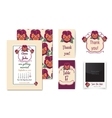 set of invitation cards with floral badge vector image