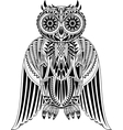 Hand-Drawn Owl with abstract pattern vector image