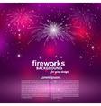Celebratory fireworks on a purple background Card vector image