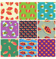 colorful insects seamless pattern wildlife wing vector image