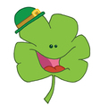 Happy Green Clover Wearing A Green Hat vector image