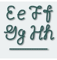 Letters E F G H - handwritten alphabet of rope vector image