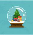 merry christmas glass ball with christmas tree vector image