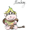 watercolor funny monkey vector image