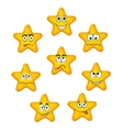 Yellow star icons with different emotions vector image