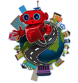 Robot on the globe vector image