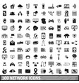 100 network icons set simple style vector image vector image