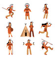 native american indians characters in traditional vector image