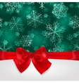 Christmas background with snowflakes and bow vector image
