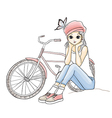 Cute young girl in pink hat with a bicycle vector image vector image