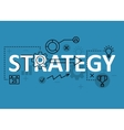 Strategy concept flat line design with icons and vector image
