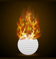 burning golf ball with fire flame vector image