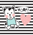 striped dog vector image