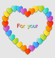 Valentines Day Card with colorful hearts vector image vector image