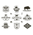 set of vintage steak house bbq party barbecue vector image