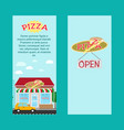 pizza vertical flyers with shop building vector image