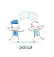 Police listen to people vector image vector image