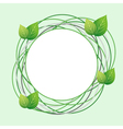 Decorative Eco frame with circles and fresh leaf vector image vector image