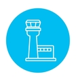 Flight control tower line icon vector image