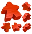 red wooden meeple set vector image