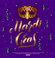 mardi gras carnival mask background with confetti vector image