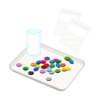 Pills with Drinking Water on Counting Tray vector image