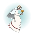 Angel character praying with a candle in hands vector image