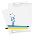 A paper with a boy holding a teddy bear vector image vector image
