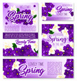 spring season purple flower banner template vector image