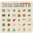 30 Colorful Doodle Icons Set 5 vector image