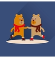 Flat icon with long shadow bears skate vector image