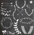 Chalkboard Wreaths Arrows Assortment vector image