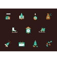 Flat color winter holidays icons set vector image