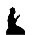 Silhouette of a Muslim praying man vector image