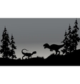 Silhouette of two allosaurus in hills vector image