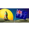 The flag of New Zealand near the moon vector image