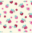 seamless pattern with flowers bees and vector image