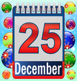 Calendar day christmas month event holiday date vector image