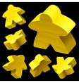yellow wooden meeple set vector image