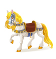 White magic horse saddled for the brave deeds vector image