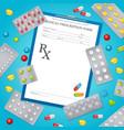drug prescription medical background poster vector image